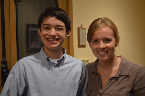 Commander Ben and Ms. Jenny Falke after talking with him about dyslexia for Learning Ally