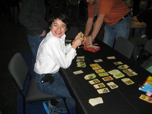 Playing Settlers of Catan Card Game at SXSW Gaming Expo 2012
