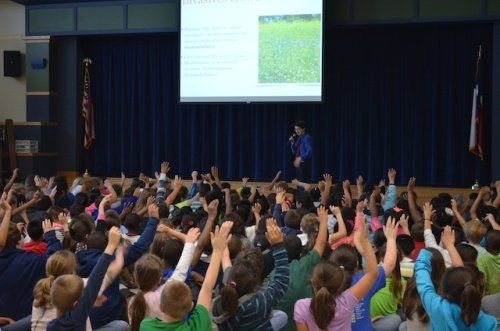 Commander Ben talks to 350 enthusiastic students about invasive species and dyslexia at Rockdale Intermediate School