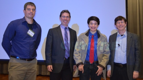 Mr. Geoffrey Hensgen, Dr. Jay Banner, Commander Ben, and Dr. Andrew Ellington at Hot Science - Cool Talks