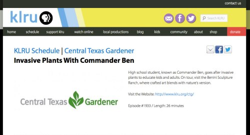 Central Texas Gardener - Invasive Plants with Commander Ben episode