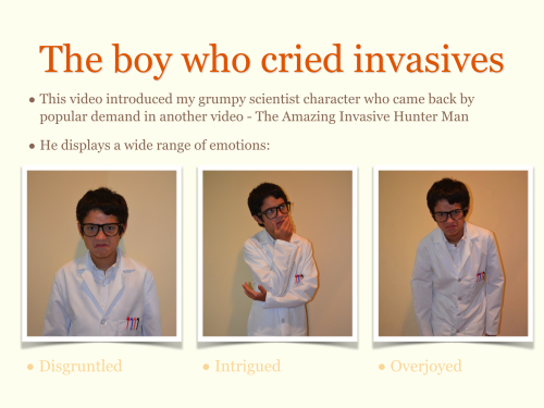 Adventures with Invasive Species presentation slide showing my grumpy scientist character's wide range of emotions