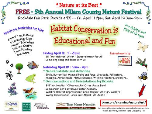The 2014 Annual Milam County Nature Festival has fun and free nature activities for kids of all ages