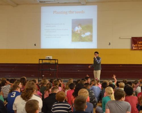 Commander Ben talks about invasive species at Milano Elementary School