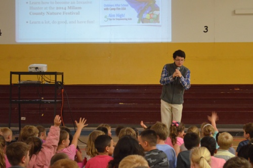 Young naturalists ask questions at Milano Elementary School