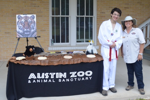 Commander Ben visiting with the Austin Zoo at Camp Mabry
