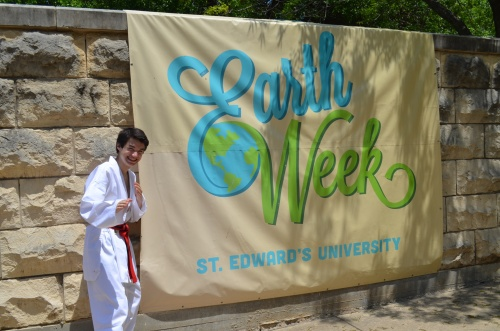 Ready for action during Earth Week 2014 at St. Edward's University