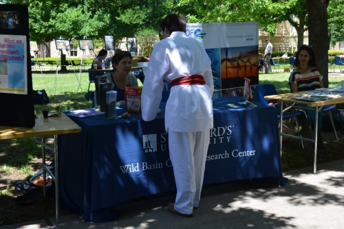 Wild Basin Creative Research Center booth during Earth Day at St. Edward's University
