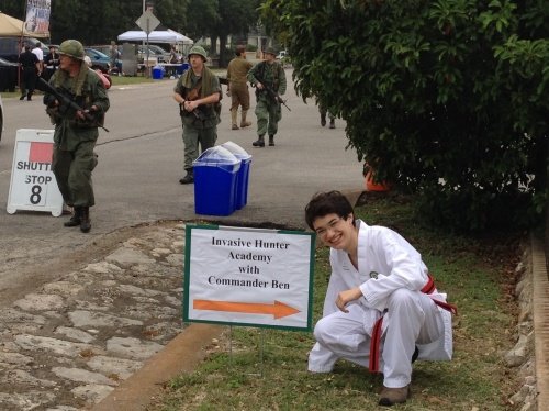 You didn't have to walk far to find Commander Ben and the Invasive Hunter Academy during Muster Days at Camp Mabry