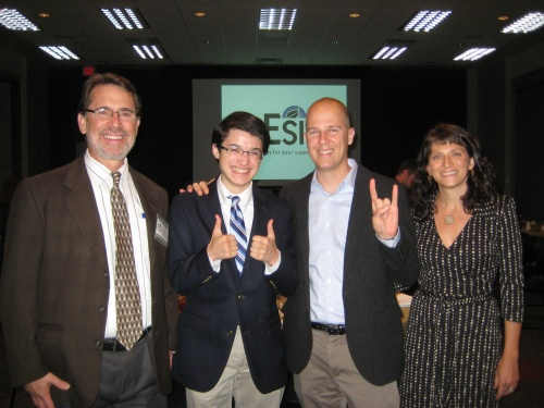 Dr. Jay Banner, Commander Ben, Dr. Chris Kirk, and Dr. Rebecca Lewis at the 2014 UT ESI Education and Outreach Dinner