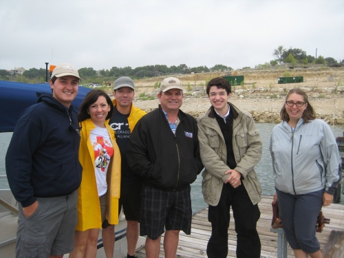 Lake Travis Cleanup press boat crew outside of the Hudson Bend collection site