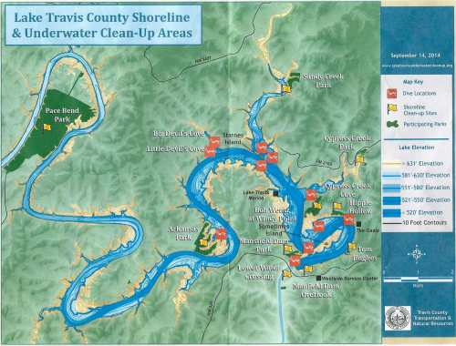 Map of the 2014 Lake Travis Underwater and Shoreline Cleanup locations (Map credit: Colorado River Alliance)