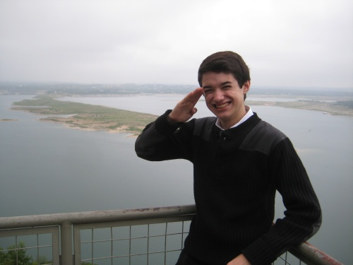 Commander Ben salutes all dyslexic students in front of Lake Travis near Austin, Texas.