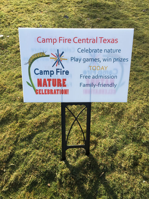 Austin Camp Fire sign welcoming kids to the event