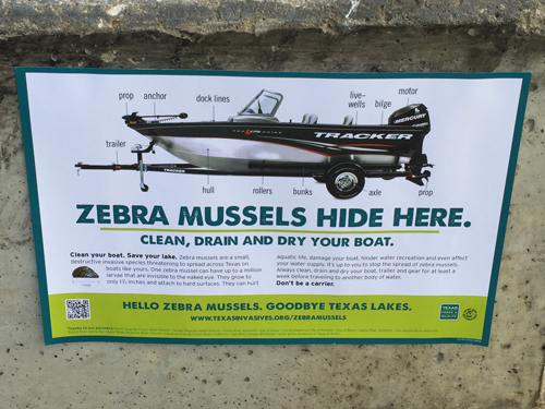 I put up a poster about Zebra Mussels from the Texas Parks and Wildlife Department