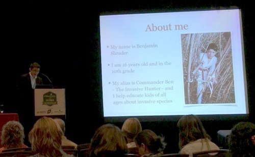 One of my Adventures with Invasive Species slides where I talk about the origin of Commander Ben at the 2015 Children and Nature Conference