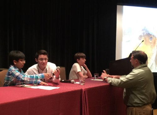 Sahil Shah, Benjamin Shrader, and Andy Kuhlken preparing for the Kid Talk at the 2015 Children and Nature Conference with Mr. Trevor Hance