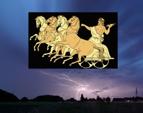 Contrary to popular belief, Zeus did not carry lighting bolts in his right hand. (Image credits: Zeus from Project Gutenberg and Lighting from Smial wikipedia)