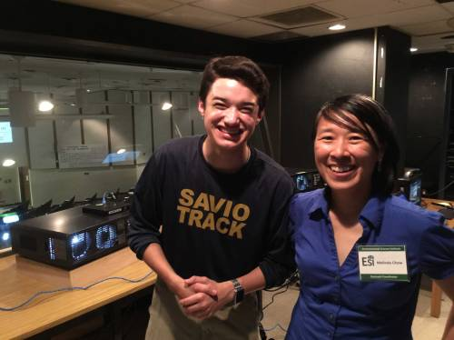 Ms. Melinda Chow and Ben Shrader in the audio and film room at the top of the Welch Hall auditorium