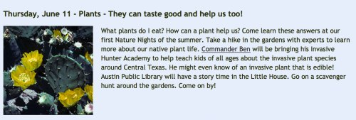 Learn about edible plants at the Nature Nights on June 11, 2015 (Image credit: Wildflower Center)