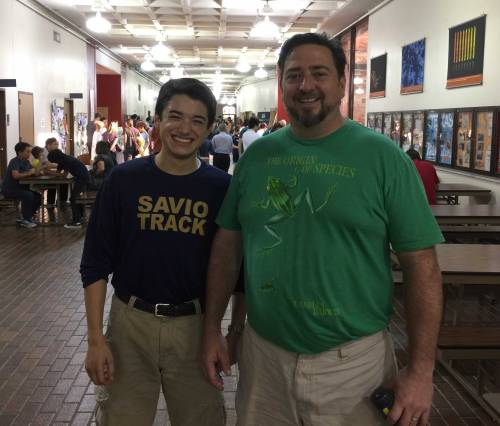 Ben Shrader and Mr. Trevor Hance with the science activities before the event